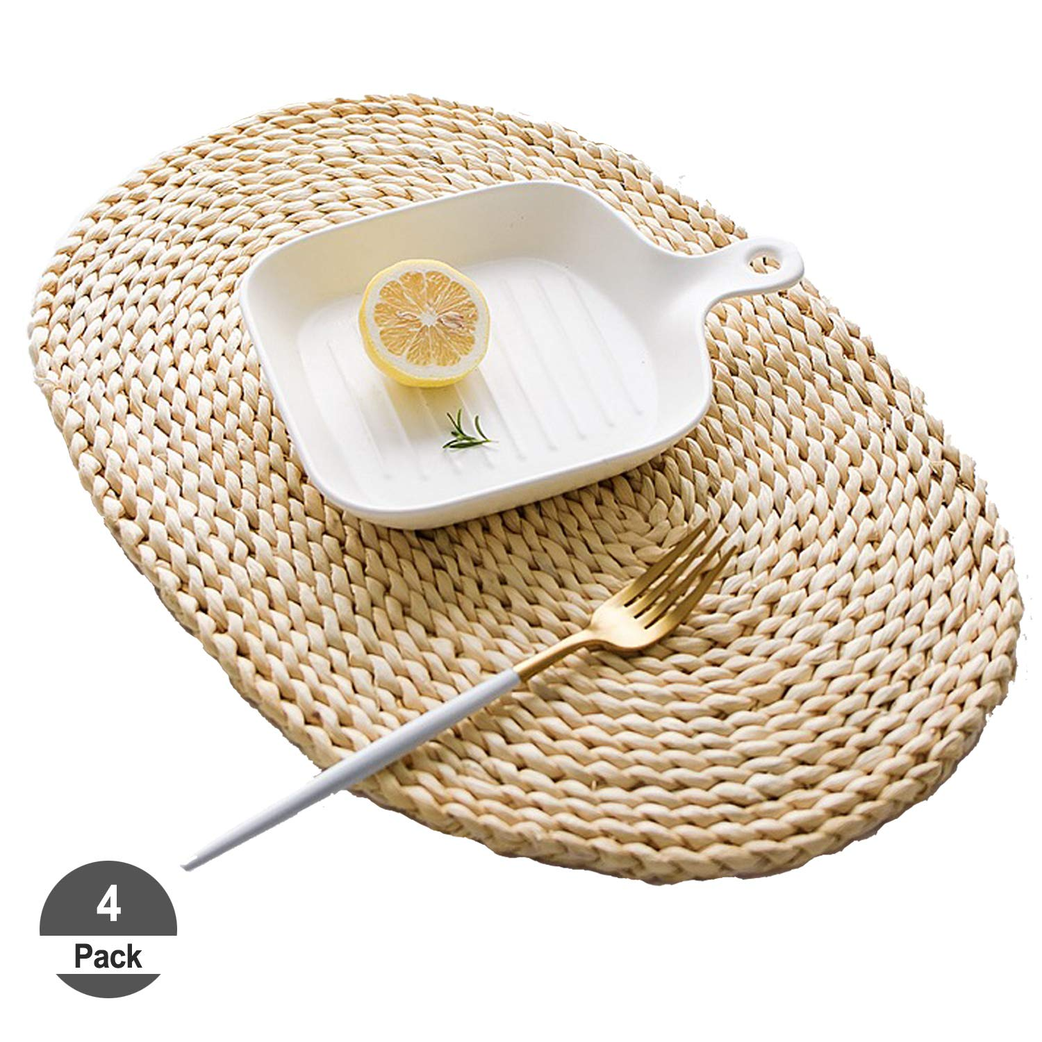 HomeDo 4Pcs Corn Straw Woven Placemats, Round/Oval Rattan Dining Table Mats, Natural Grass Weave Placemats Handmade, Coaster mat (4, Ellipse11.8''x17.7''(30x45cm))