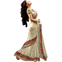 Vinayak Textile Women's Off White Georgette Saree With Blouse Piece Material (KF5_Free Size)