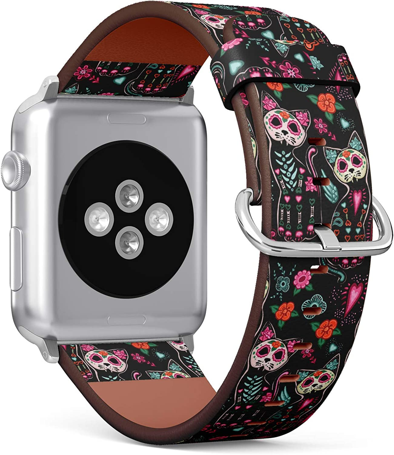 (Sugar Skull Cat Pattern for Day of The Dead) Patterned Leather Wristband Strap for Apple Watch Series 4/3/2/1 gen,Replacement for iWatch 38mm / 40mm Bands