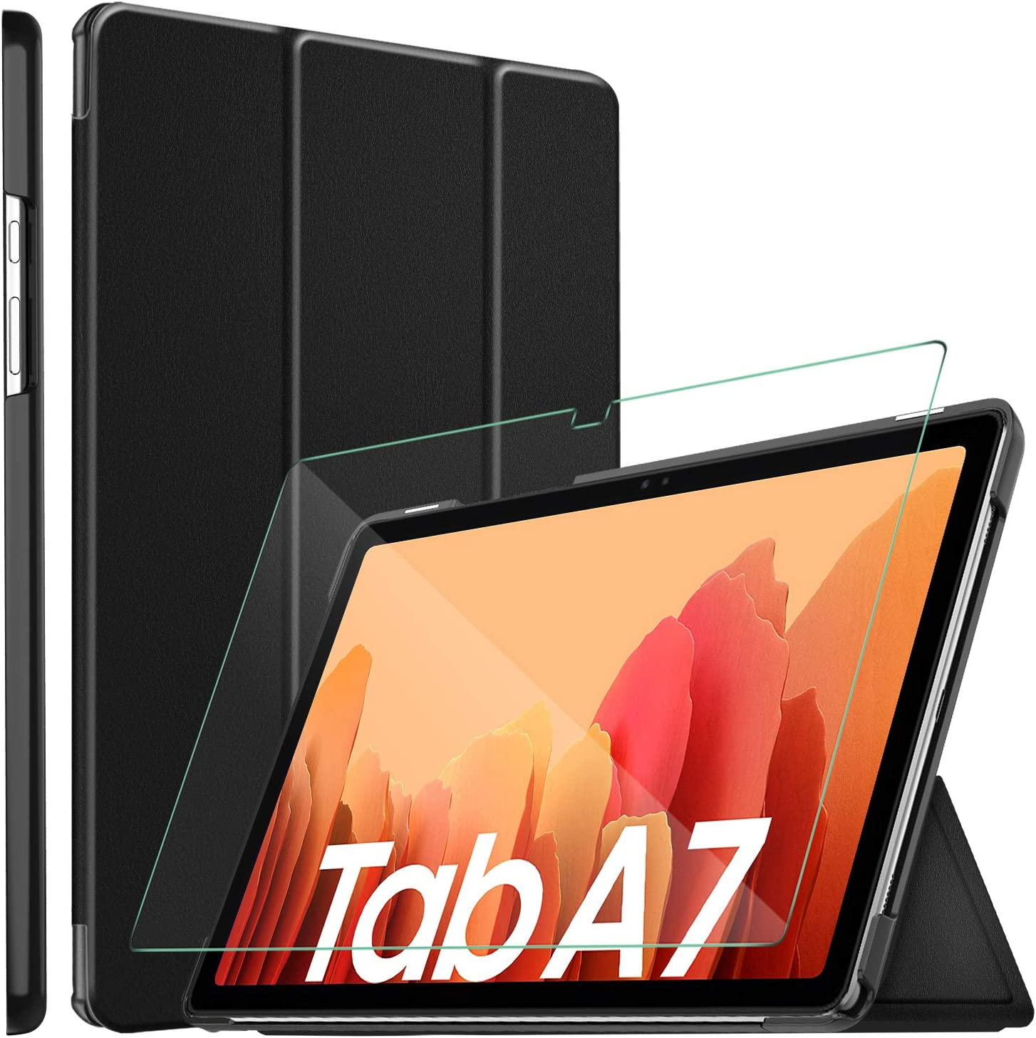 ELTD Funda + Película templada [combinación] para Samsung Galaxy Tab A7 10.4, Fundas Duras Case + Vidrio Templado Glass Film para Samsung Galaxy Tab A7 T505/T500/T507 10.4 2020