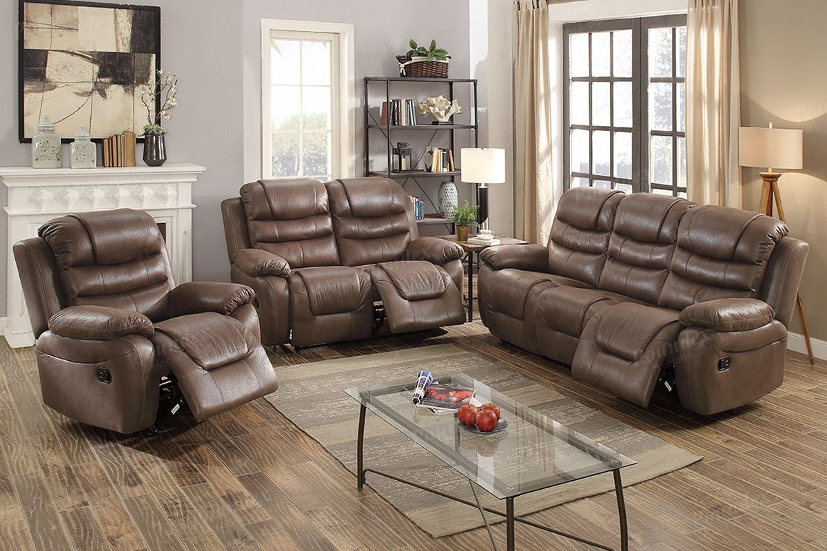 Amazon com 3pcs dark coffee leather motion sofa loveseat chair recliner set for living room kitchen dining
