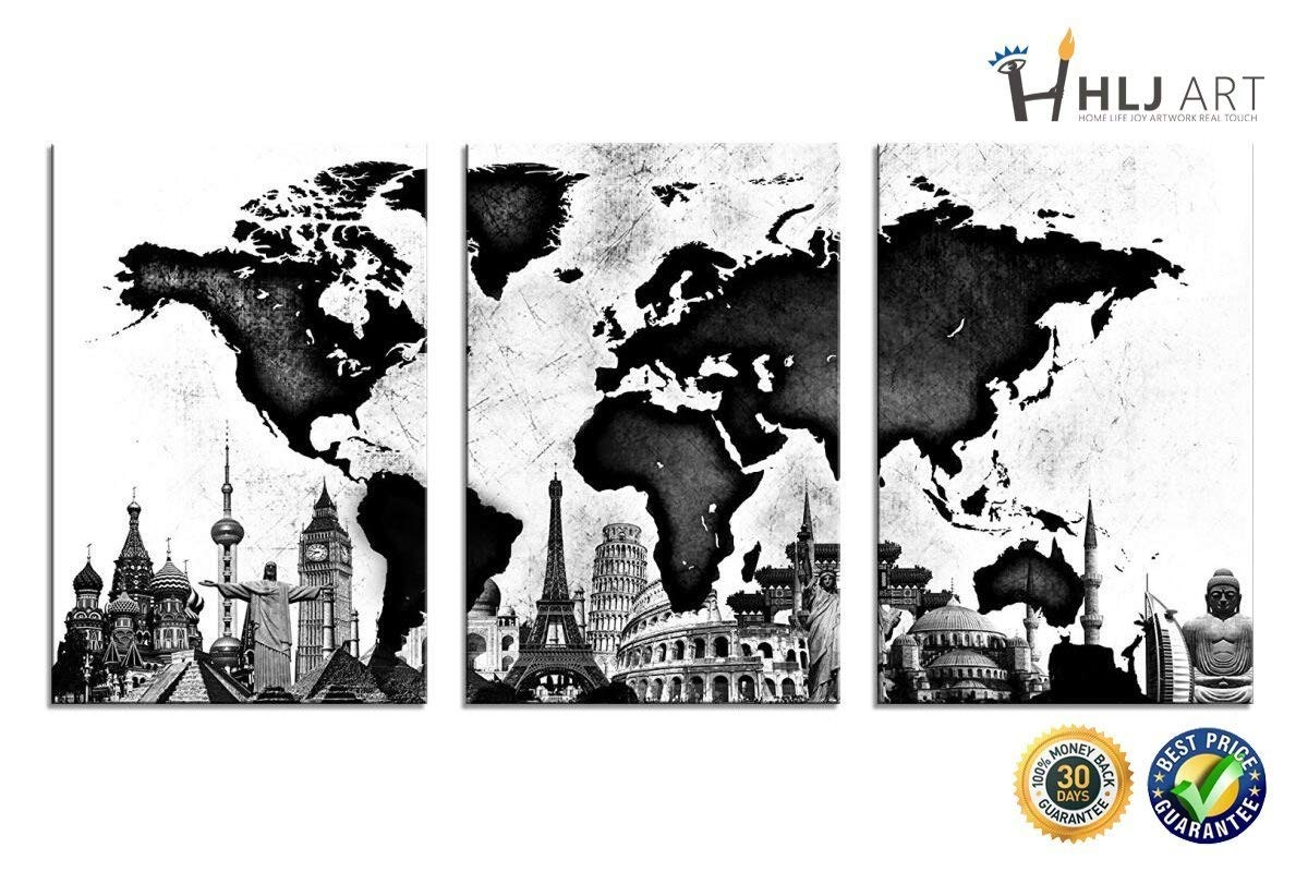Amazon com world map canvas wall art black and white famous architecture hlj painting stretched and framed hang for home office wall decoration 16x24in