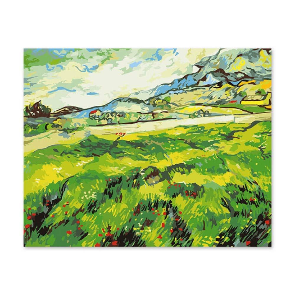 Pmhhc Frameless Malen Nach Zahlen Kunstfarbe Nach Zahlen Digitale Ölfarbe Van Gogh Landschaftsfeld Grünen Frühlingslandschaftszug Durch Zahlen B07PBYQVB3   Modern Und Elegant In Der Mode
