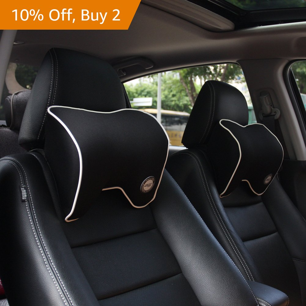 Car Neck Support Pillow for Neck Pain Relief When Driving,Headrest Pillow for Car Seat with Soft Memory Foam - Black by ComfyWay (Image #5)