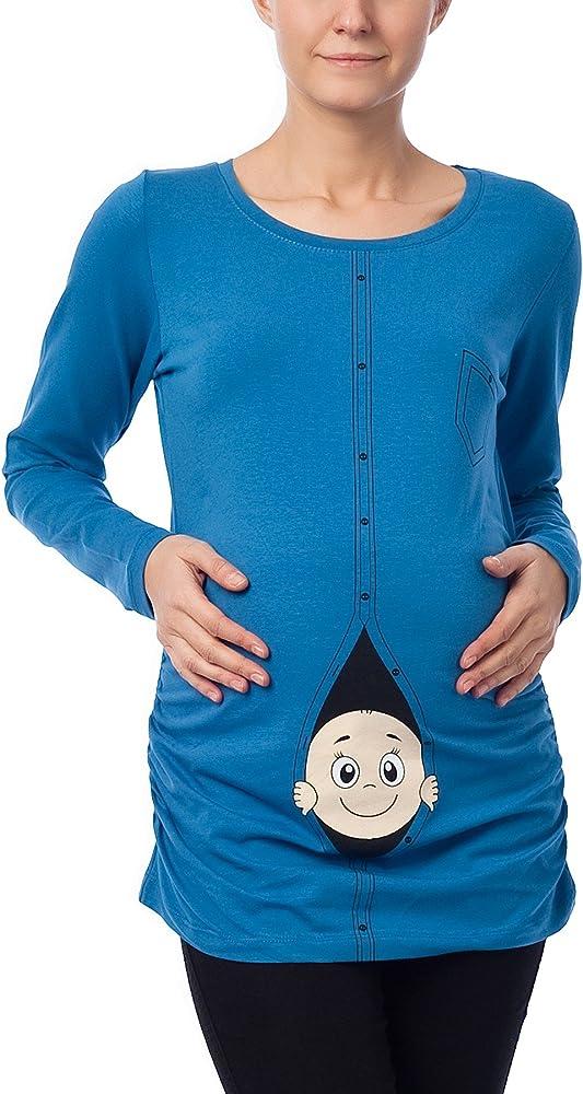 Divertido Moda premamá camiseta suéter Embarazo Regalo bebé Camisa - (S, Azul): Amazon.es: Ropa y accesorios
