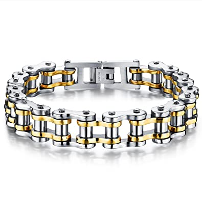 JewelryWe Bracelet Chaine de Vélo - Acier Inoxydable - Homme - Motard Biker  - Couleur Argente 30bfc9b52207
