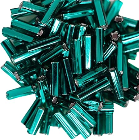 20 Grams Silver Lined Turquoise Blue Bugle Seed Bead Tube Seed Beads Glass Seed Beads 4mm