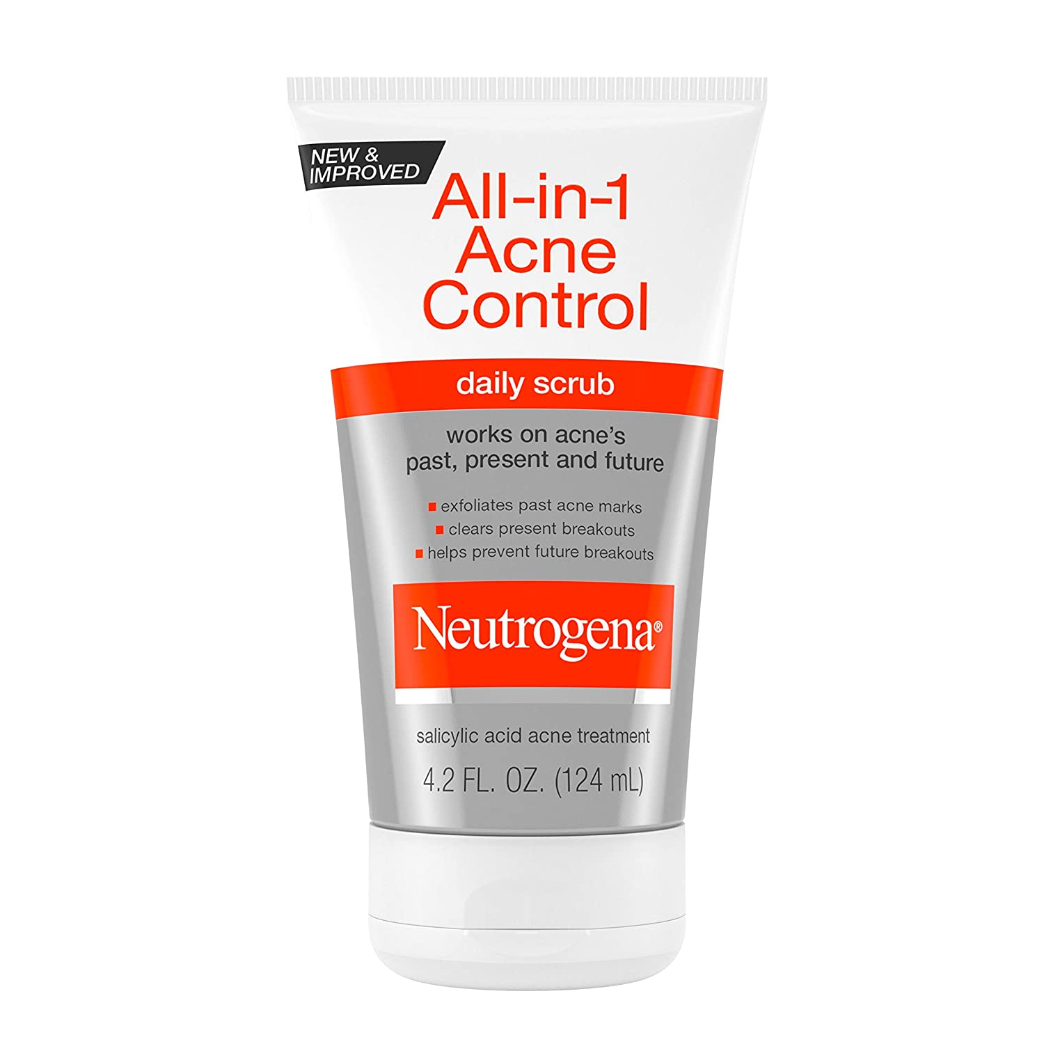 Neutrogena All-In-1 Acne Control Daily Face Scrub to Exfoliate and Treat Acne, Salicylic Acid Acne Treatment, 4.2 fl. oz