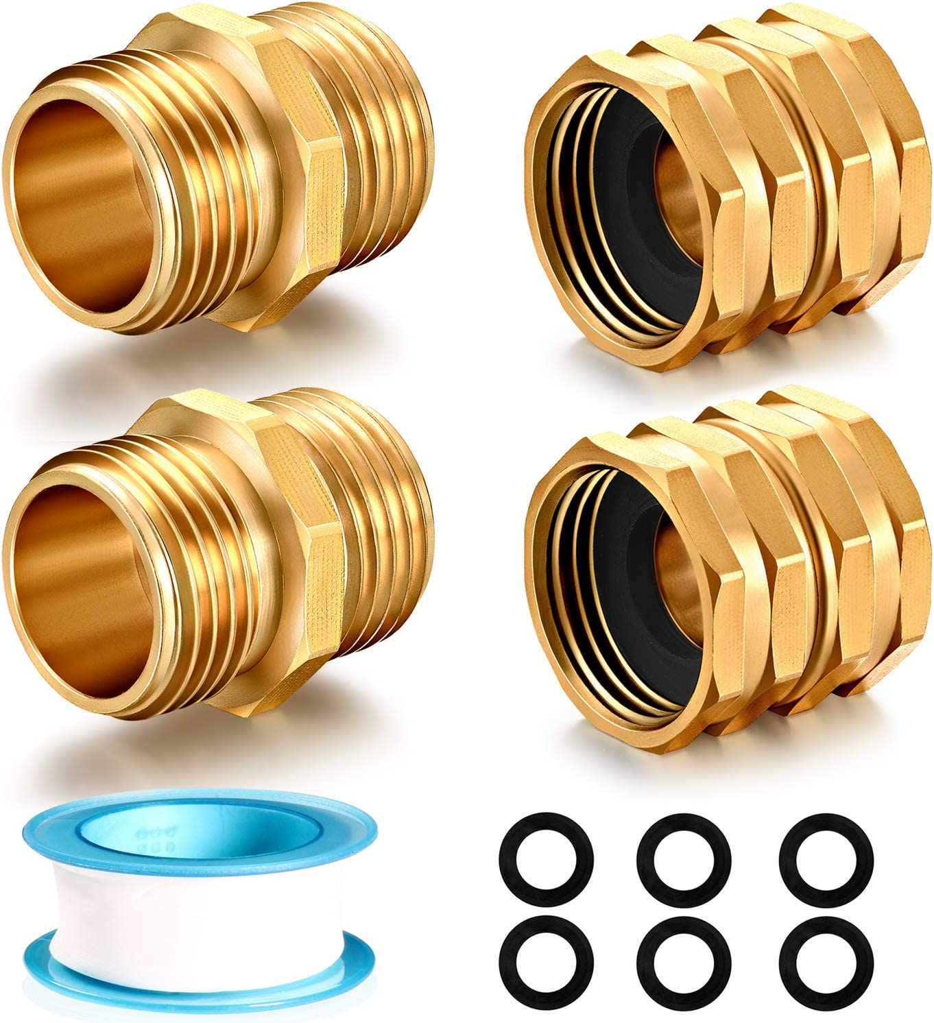 YELUN Solid brass Garden Hose Fittings Connectors Adapter Heavy Duty Brass Repair Male to Male, Female faucet leader coupler dual water hose connector (3/4