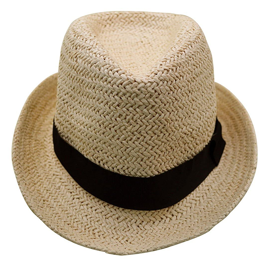 2e9d432cff1f0 Millya Boys and Girls Foldable Rollable Straw Hat Panama Trilby Style Fedora  Sun Hat  Amazon.co.uk  Clothing