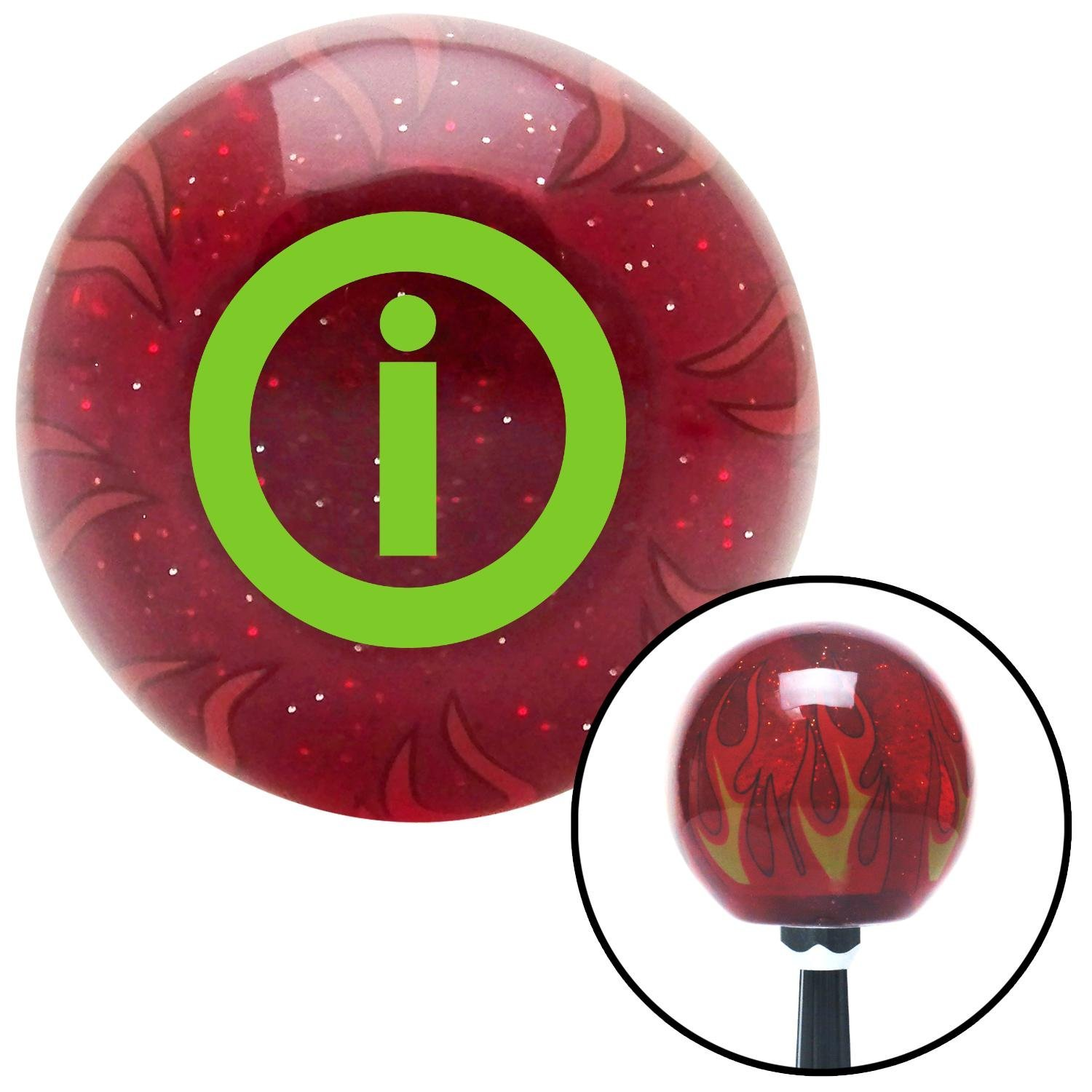 Green Info American Shifter 239735 Red Flame Metal Flake Shift Knob with M16 x 1.5 Insert