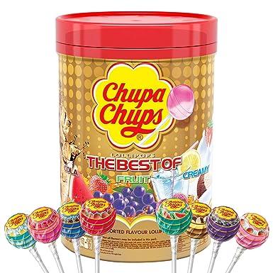 Chupa Chups Caramelo con Palo de Sabores Variados - Tubo de 100 unidades de 12 gr/ud [Modelo antiguo]