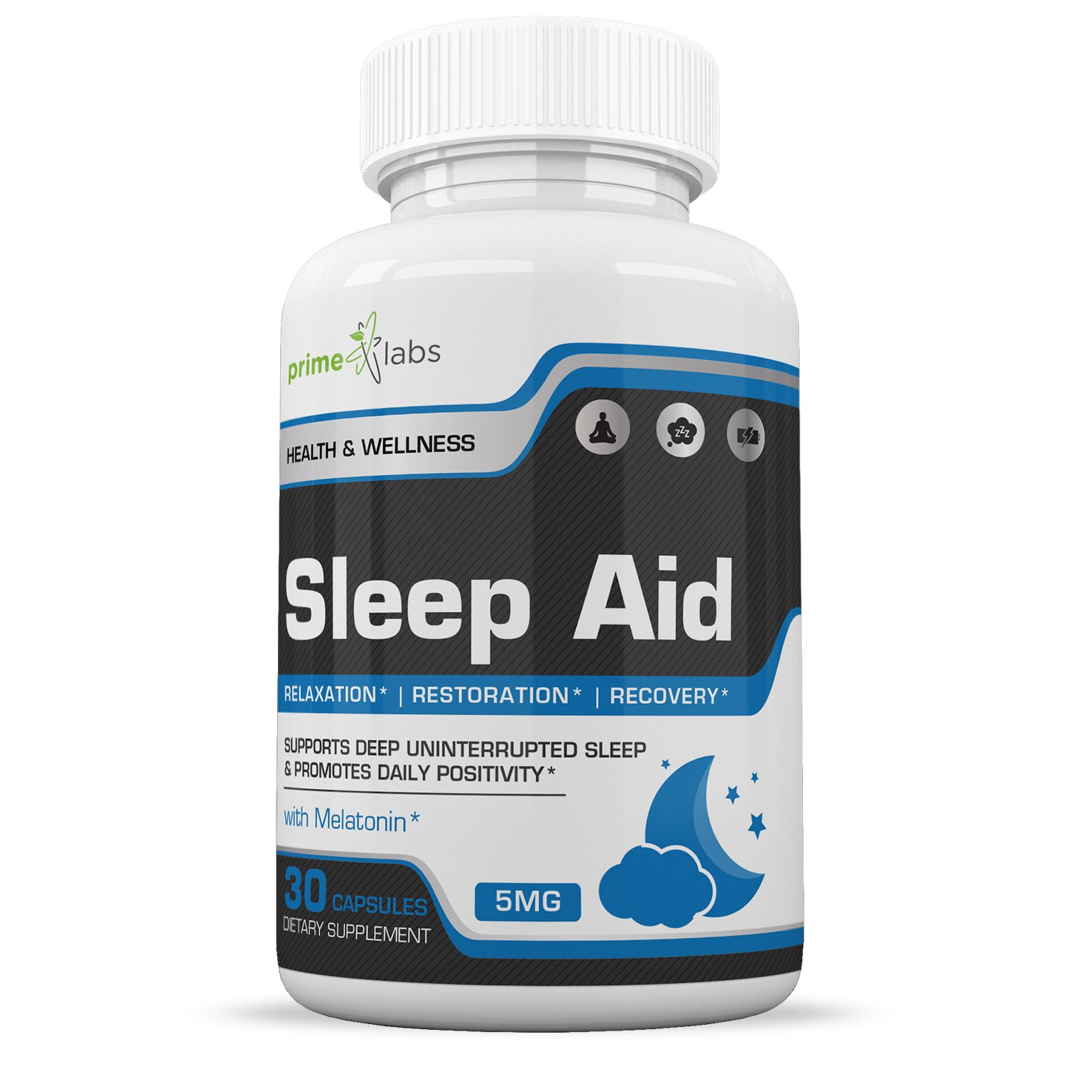 Natural Sleep Aid Supplement - Fast Acting Melatonin 5mg for Better Sleep Support, Relaxation, Wake Refreshed & Energized- 30 Capsules by Prime Labs
