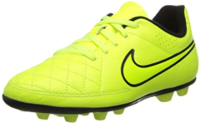 huge discount 677fc 27103 NIKE JR TIEMPO RIO II FG-R Youth Molded Soccer Cleats Yellow Punch Black 1.5