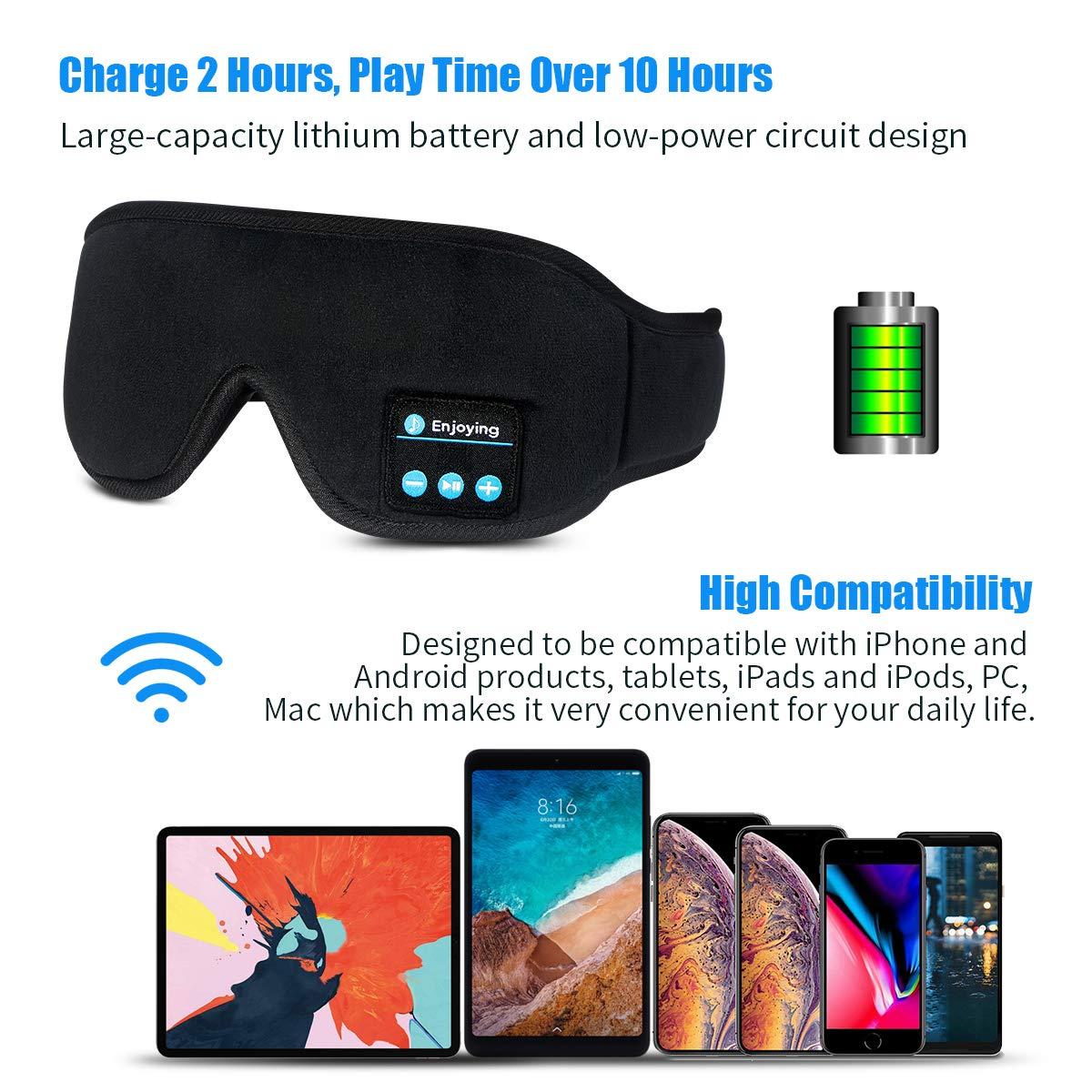 Silk Sleep Eye Mask with Headphones for Men Women : Upgrade Wireless Bluetooth V5.0 Sleeping Eye Mask, Music Sleep Eye Shades Built -in Speakers Microphone Fully Washable Adjustable Earphones