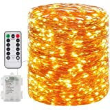 Fairy Lights, 66ft 200 Led Outdoor String Lights, Waterproof Battery Operated Copper 8 Lighting Modes, Chirstmas Party Bedroo