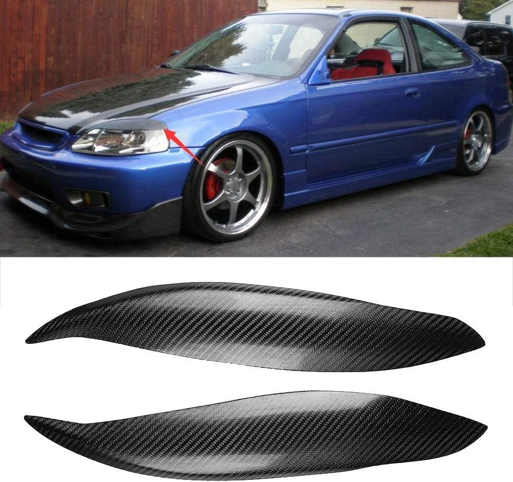 Acouto Car Headlight Eyebrows Trim,1 Pair of Carbon Fiber Car Headlight Eyebrow Eyelid Fit for Honda Civic 99-00 Car Modification