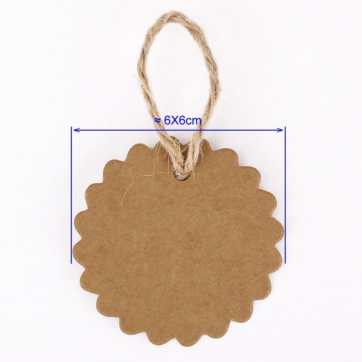 RICISUNG 100x /étiquette en carton kraft avec cordon chanvre