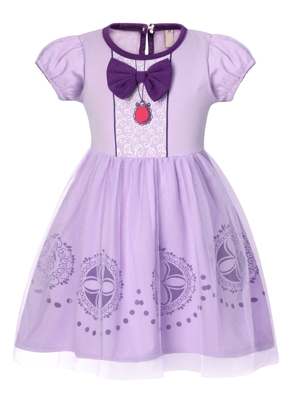 HenzWorld Sofia Dress for Toddler Girls, Short Sleeve Cotton Casual Dress Outfit for Little Girl 2T(90 1-2Years)