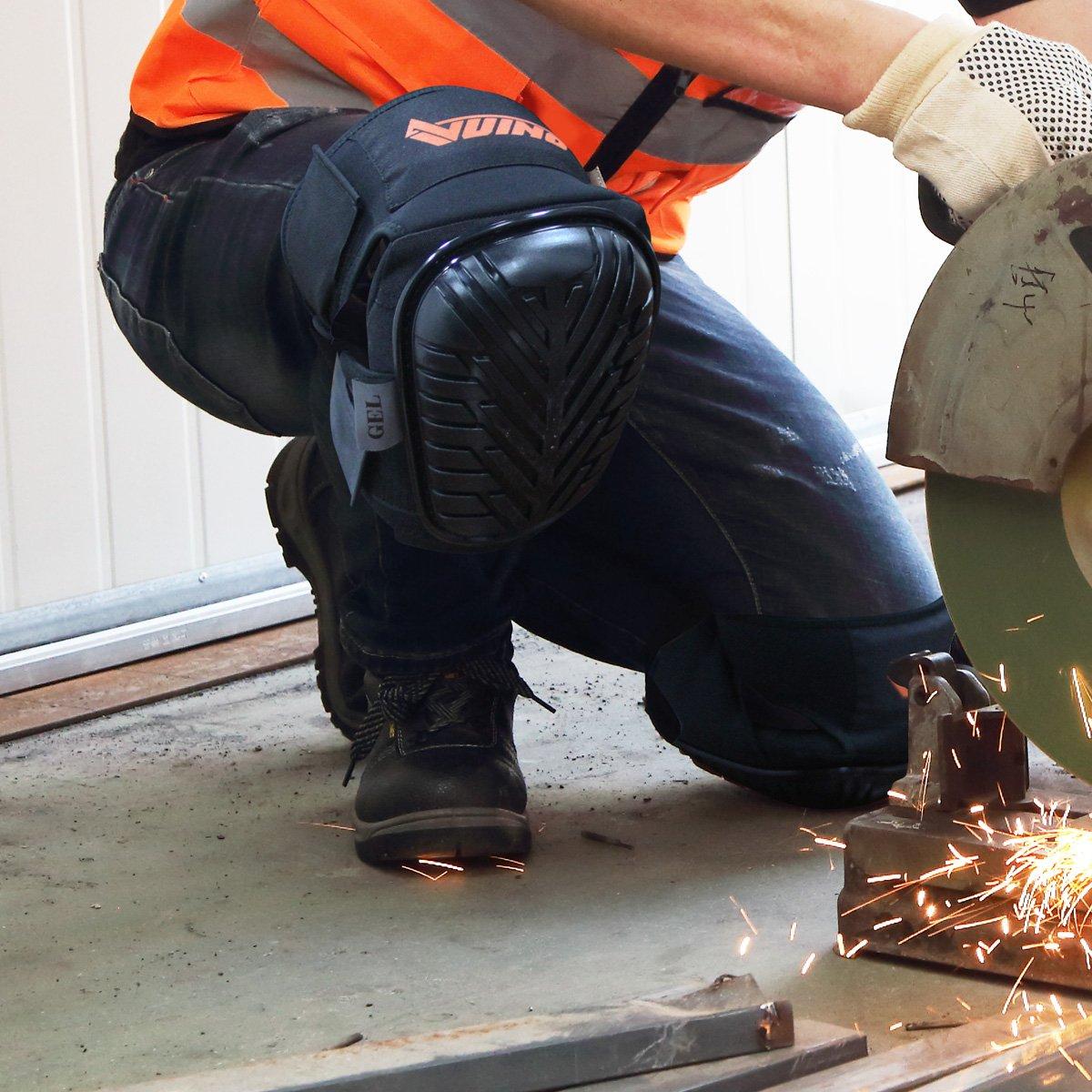 Gardning carrelage et de construction Vuino Professional Heavy Duty Genouill/è res Rembourrage en mousse EVA avec coussin en gel confortables et sangles r/é glables pour travailler nettoyage Parquet noir