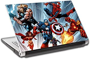 """Marvel Super heroes Personalized LAPTOP Skin Vinyl Decal Sticker WITH NAME L87-13"""""""