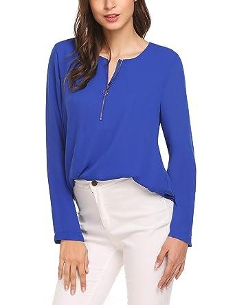 1912c7f3ff398e Finejo Damen Elegant Blusen Tunika Blusenshirt Langarmshirt Rundhals Oberteile  T-Shirt mit Reißverschluss Vorne (