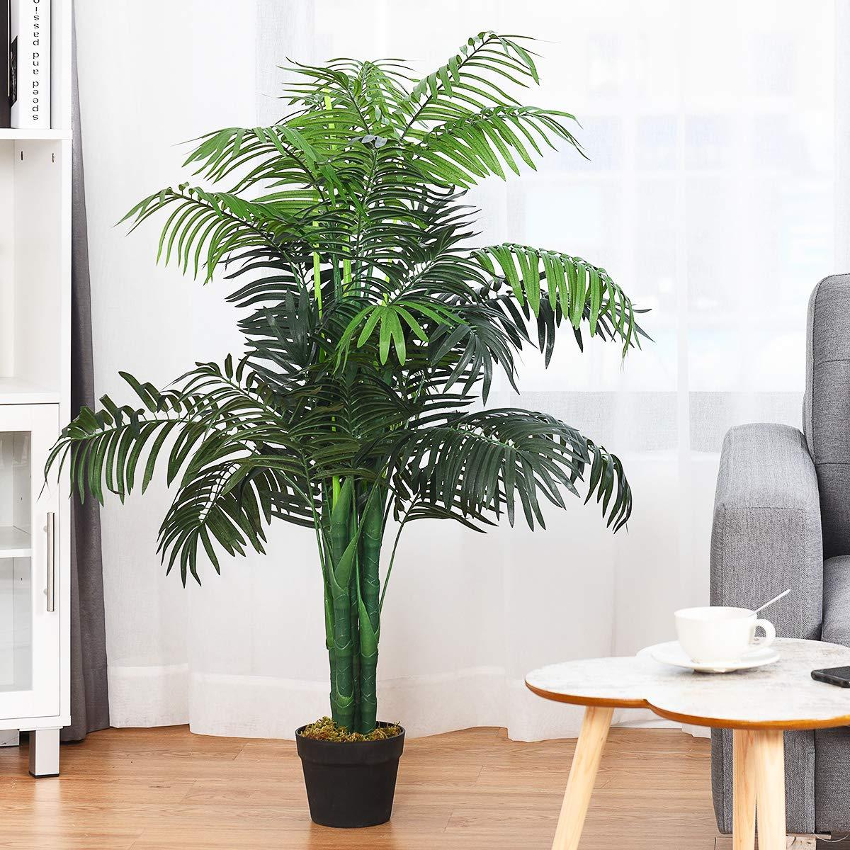 Blitzzauber24 Albero Artificiale-Palma Areca Piante in Vaso da Giardino,Perfetto per Casa o Ufficio,Altezza 110CM