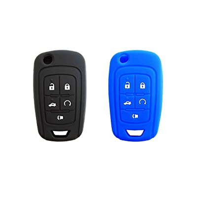 BAR Autotech Remote Key Silicone Rubber Keyless Entry Shell Case Fob and Key Skin Cover fit for Chevrolet Camaro Cruze Volt Equinox Spark Malibu Sonic (1 Pair) (Black+Blue): Car Electronics