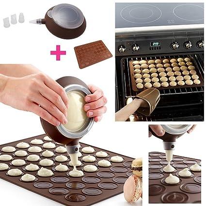 Kit para macarons, Bandeja de horno/molde de silicona + 1 dispensador + 3