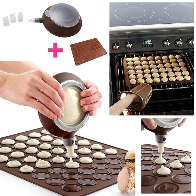 Kit para macarons, Bandeja de horno/molde de silicona + 1 dispensador + 3 boquillas, color marrón by DELIAWINTERFEL