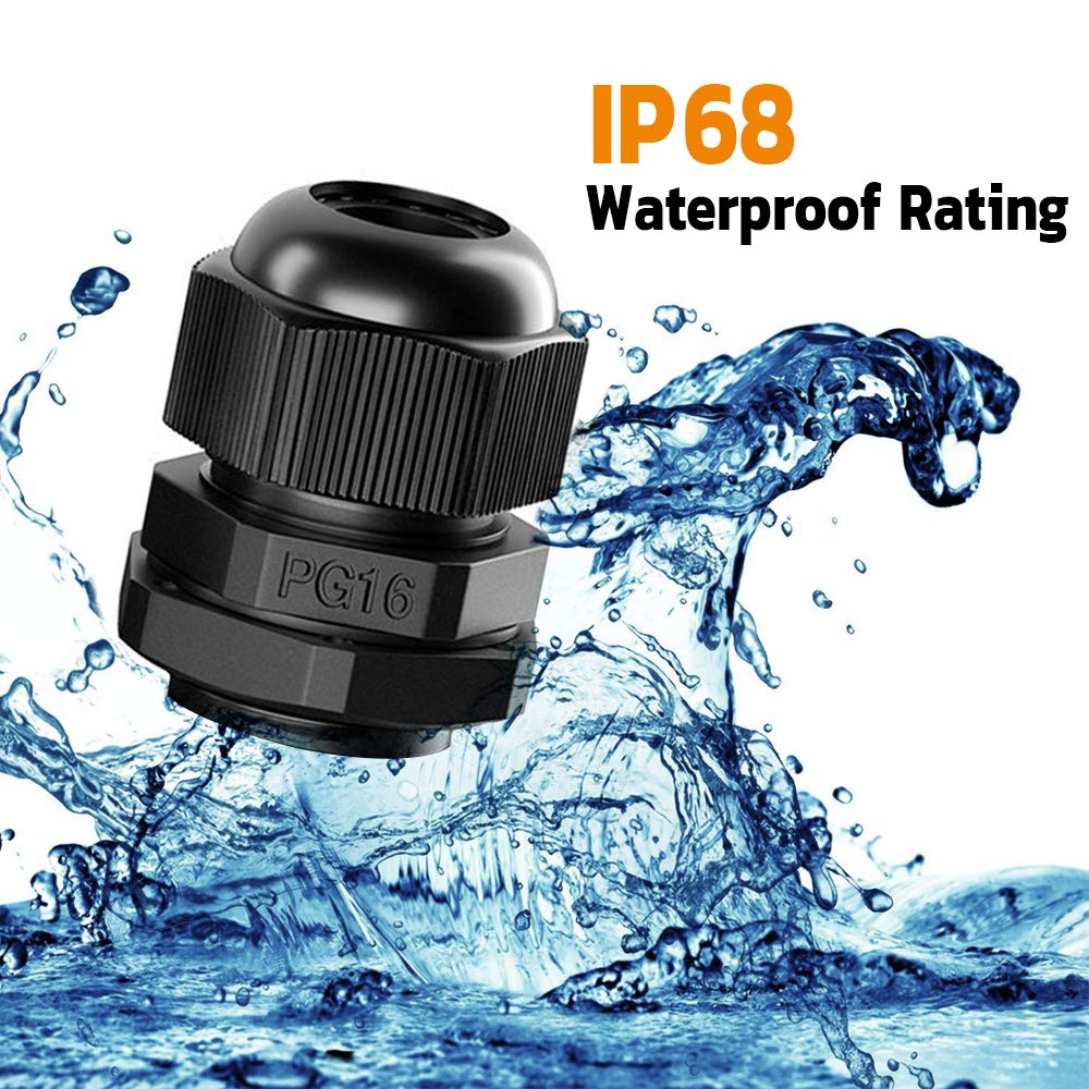 PG7 PG13.5 PG19 PG16 PG11 Cable Glands Waterproof Adjustable Plastic Cable Connectors Fasteners Cable Gland Joints PG9 40 Pieces Toolkitworld