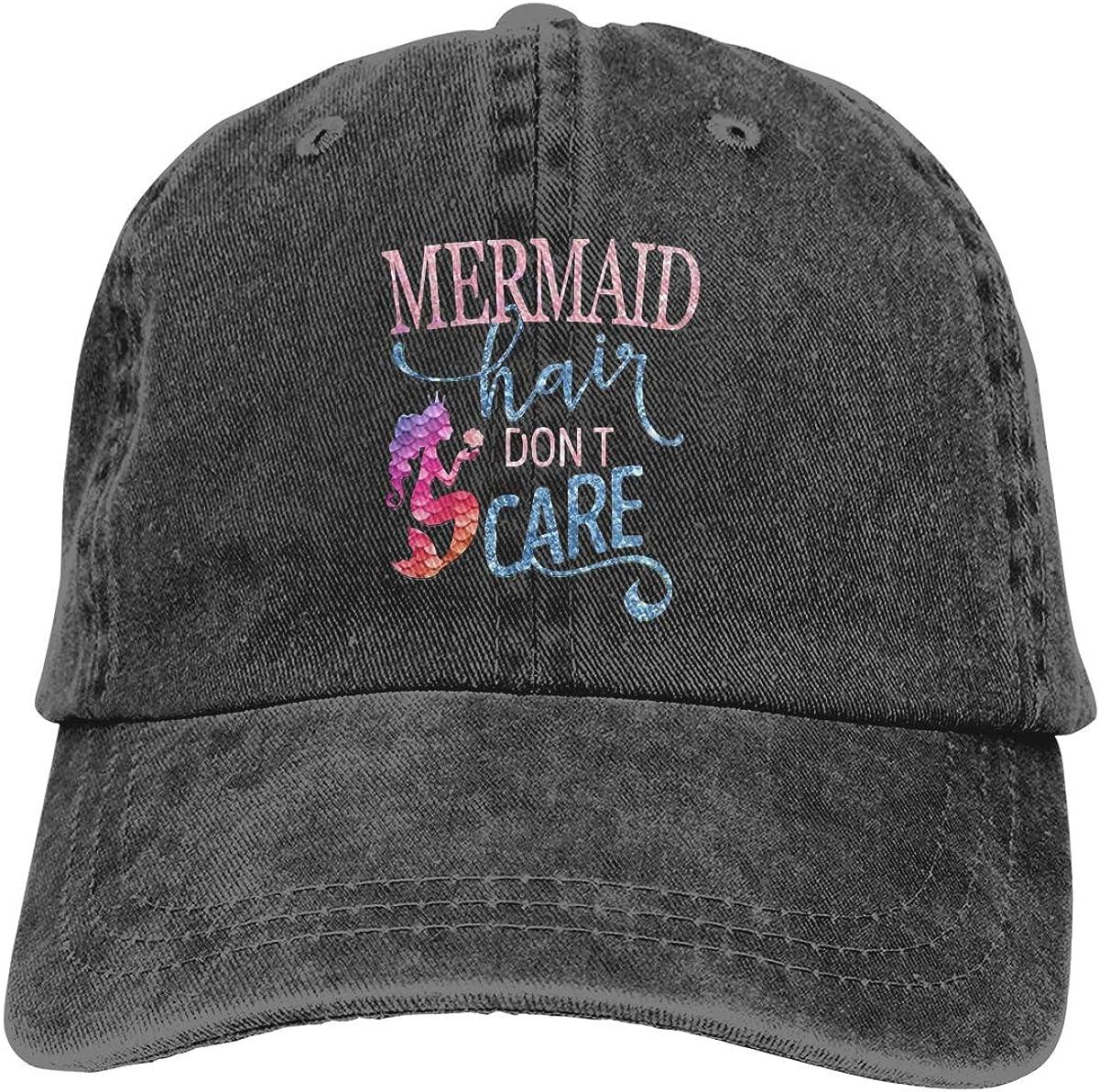 Mermaid Hair Don't Care Sun Cap Baseball Hat Dad-Hat Travel Visor Adjustable Fit for Ponytail Women Vintage Washed Black