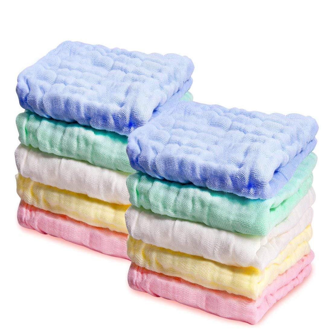 Kyapoo Baby Muslin Washcloths, Towels Premium Extra Soft Newborn Baby Face Towel, Baby Registry as Shower Gift 5 Pack KYP9099