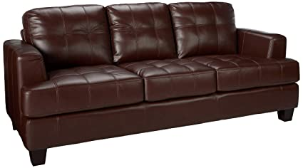 Samuel Stationary Sofa with Attached Seat Cushions Dark Brown