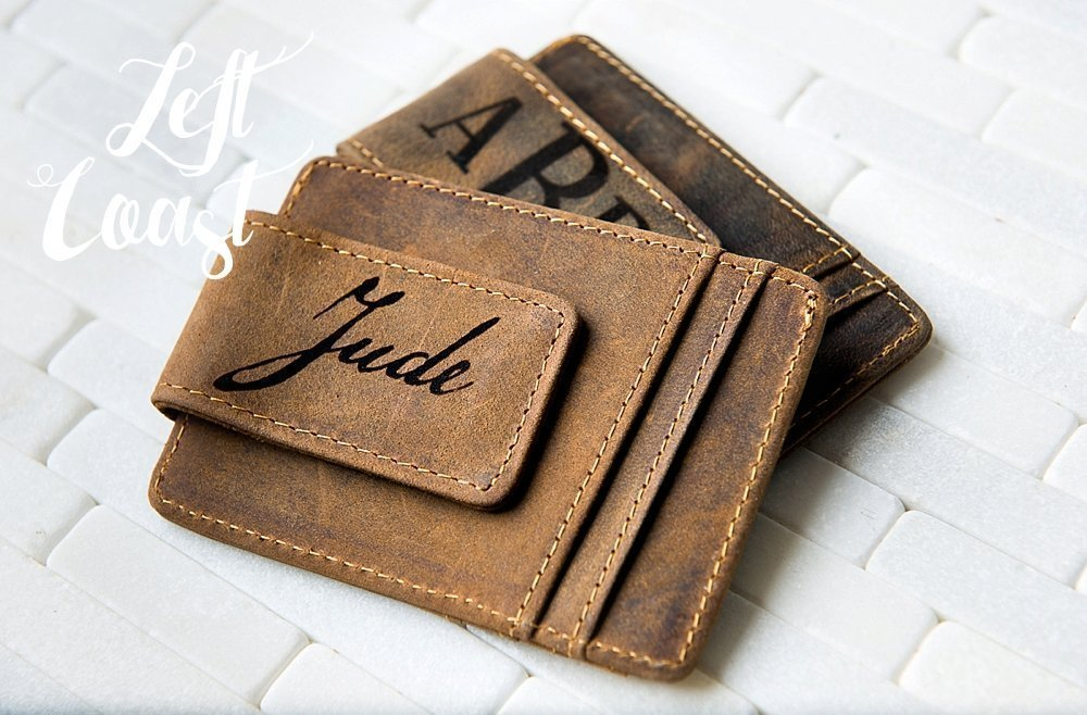 Personalized Leather Money Clip Groomsman Men Gift Best Man Dad Boyfriend Brother Man Guy Wedding Usher Distressed Magnetic Monogram or Name