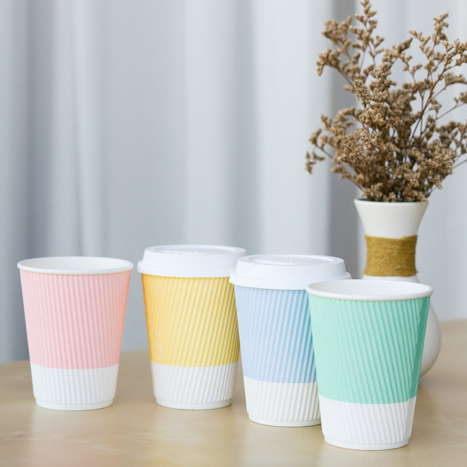 Disposable Coffee Cups With Lids - 12 oz To Go Coffee Cup ...