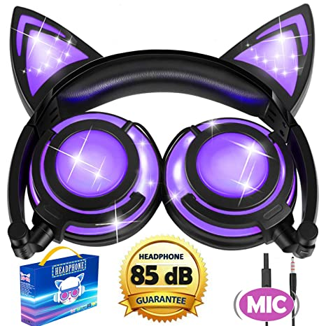 fc6b09a49e3 Cat Headphones, Kids Cat Ear Headphones with Microphone 85dB Control,Light  Up Foldable Wired