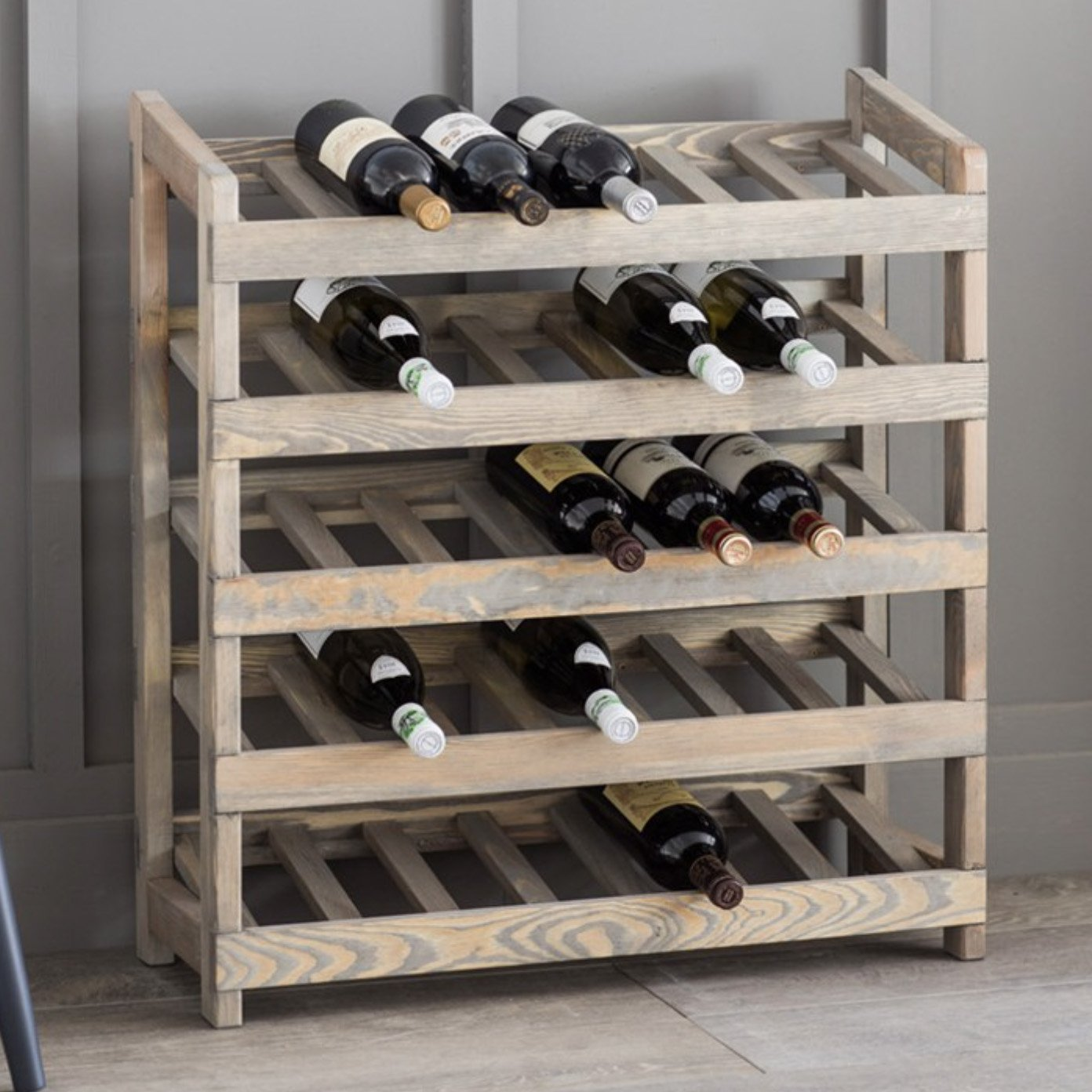 CKB Ltd Deluxe 35 Bottle Large Wine Rack Freestanding – Wood Spruce - Wooden Wine Bottle Storage Rack Holder For Bar Home Kitchen