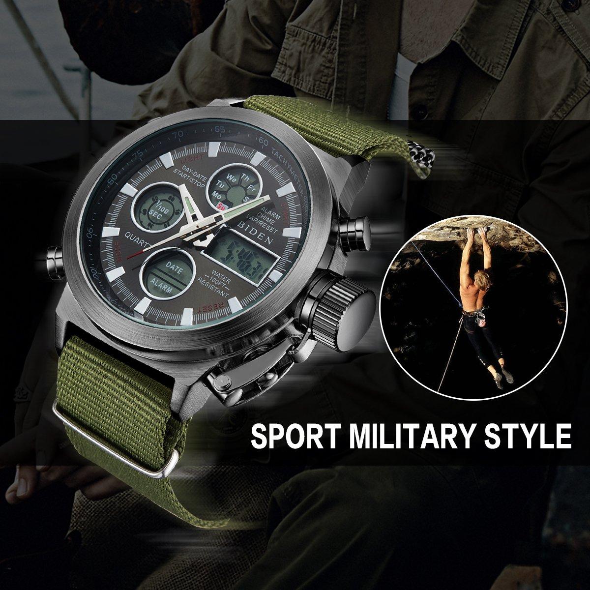 BIDEN Watch, Watch Men Digital Analog Sport Waterproof Watch,Multifunction LED Date Alarm Leather Wrist Watch (GreenBlack) by BIDEN (Image #2)