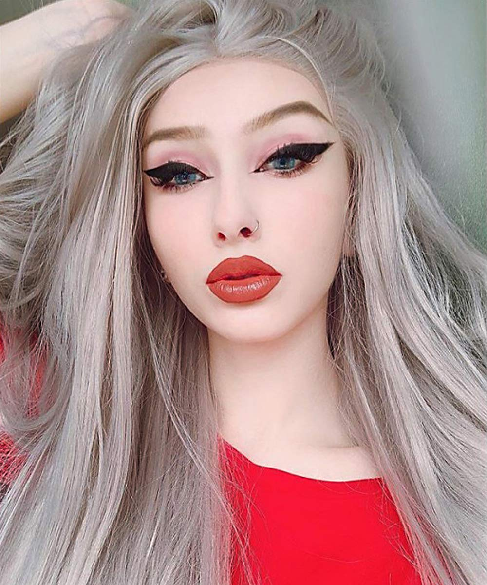 eNilecor Silver Platinum Blonde Lace Front Wig Long Natural Wavy Middle Part Synthetic Replacement Hair Grey Wigs Soft Heat Resistant Ash Wigs for Women 24'' by eNilecor