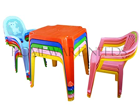 Childrens Kids Plastic Table and Chair Set - Includes 4 Chairs ...