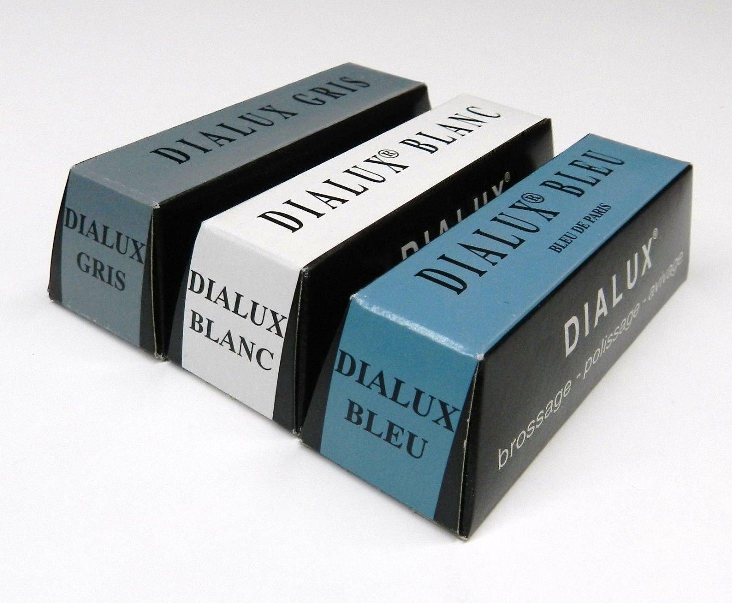 Dialux Metal Polishing Compound Grey, White and Blue 4oz 1/4b
