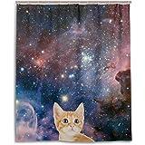 Bad Vorhang für die Dusche 152,4x 182,9cm, Galaxy Space Nebel Star Universe Meteor Katze, Polyester-Schimmelfest-Badezimmer Vorhang