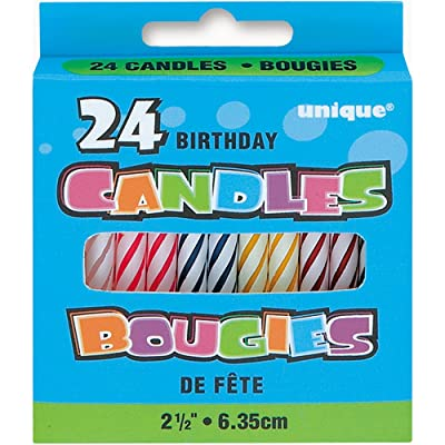 Assorted Color Striped Birthday Candles, 24ct: Kids Party Decorations: Kitchen & Dining