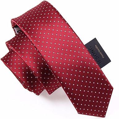 HXCMAN 5cm vino rojo borgoña lunares estrecha corbata Diseño ...