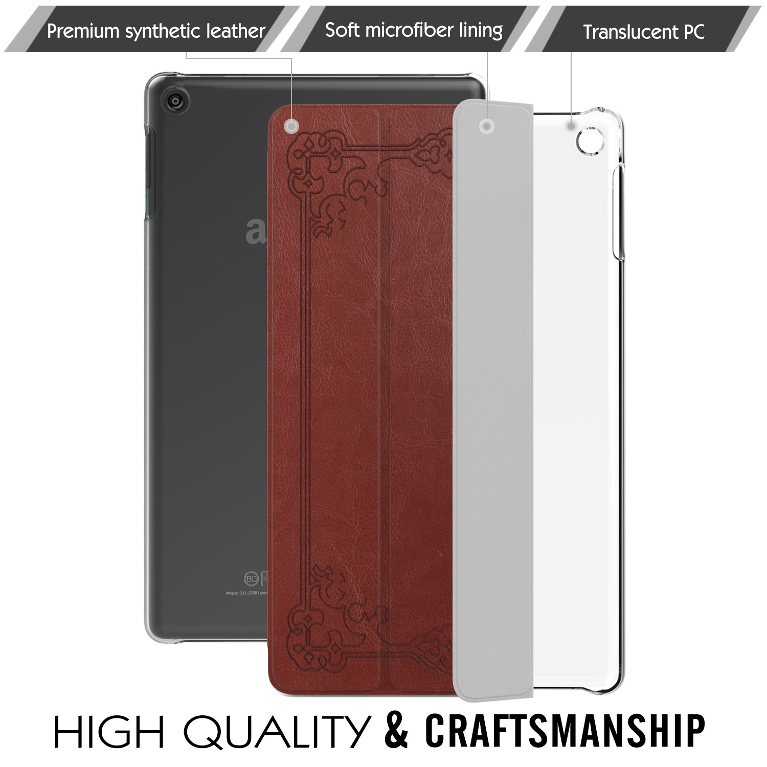 Black -Lightweight Slim Shell Stand Cover with Frosted Back for Fire HD 8 7th//8th Generation, 2017//2018 Release MoKo Case for All-New  Fire HD 8 Tablet with Auto Wake//Sleep