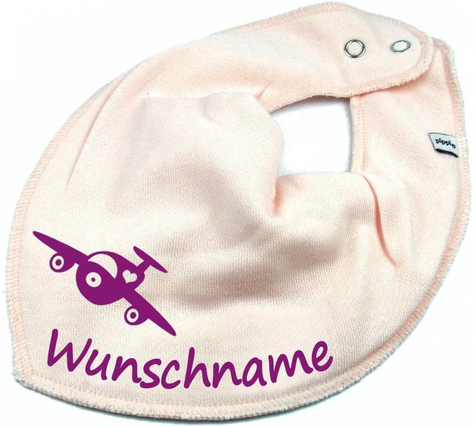 HALSTUCH Flugzeug mit Namen oder Text personalisiert dunkelblau f/ür Baby oder Kind