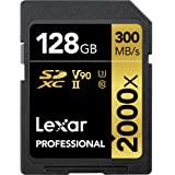 Lexar Professional 2000x 128GB SDXC UHS-II Card, Up To 300MB/s Read, for DSLR, Cinema-Quality Video Cameras (LSD2000128G-BNNN