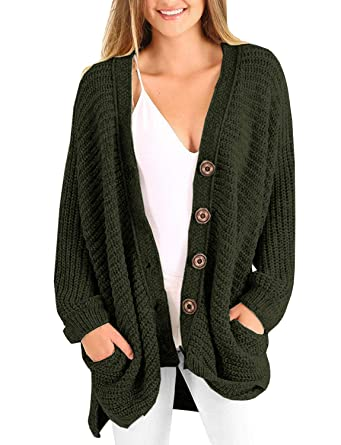 66d5fa3938ec03 Plus Size Womens Cardigans Boyfriend Long Cable Knit Button Cardigan  Sweaters with Pockets at Amazon Women's Clothing store:
