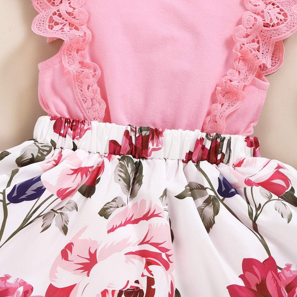 Haokaini Nouveau-N/é B/éb/é Fille Robe D/ét/é Col Rond Robe /à Fleurs pour Une Soir/ée D/écontract/ée